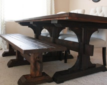 Pedestal Farmhouse Table - Farm table and bench - Wood Farm Table- Rustic - Custom Wood Table - Pedestal Leg Table