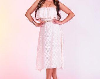 Pretty powder pink spring summer dress ruffle bodice