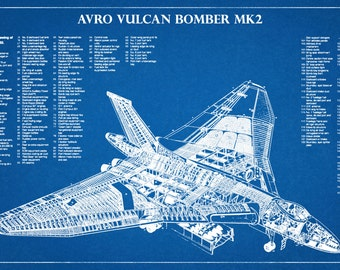 Avro Vulcan B MK2 Bristish Bomber Plane - Hawker Siddeley Airplane - Art Print - Poster - Wall Art - War II Plane Wall Art