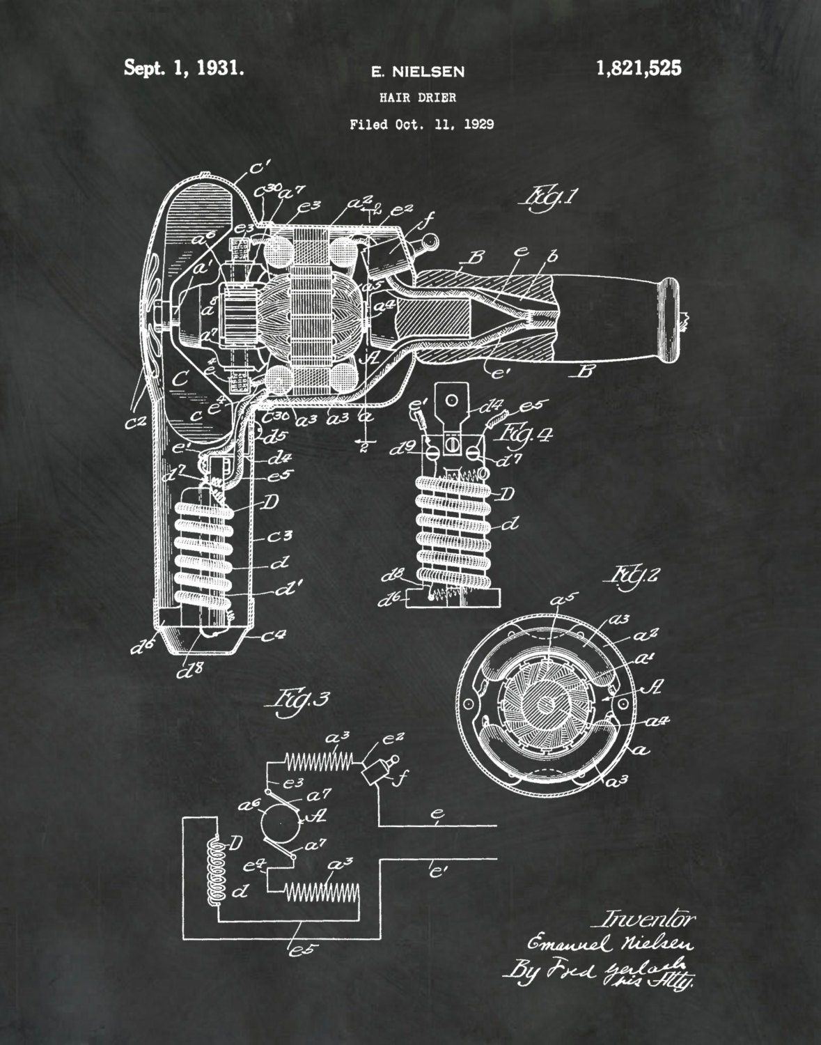 Patent 1931 hair dryer art print poster barber shop art gallery photo gallery photo gallery photo malvernweather Image collections