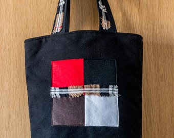 Black Felt Tote Bag with Statement Geo Appliqué