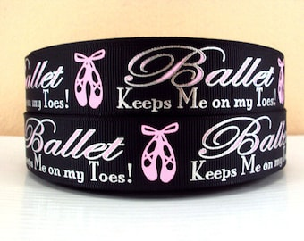 1 inch Ballet Keeps Me on My Toes Pink on Black Silver Foil Sports Dance Printed Grosgrain Ribbon for Hair Bow