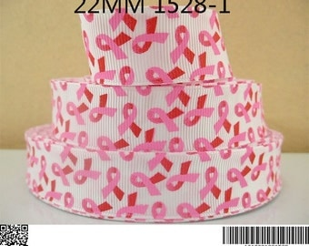 1 Yard 7/8 inch BREAST CANCER Awareness Ribbons on White  - Printed Grosgrain Ribbon for Hair Bow