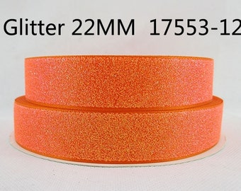 1 Yard 7/8 inch  Bright Orange GLITTER Ribbon for Hair Bow