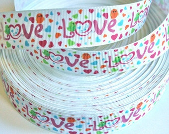 1 inch LOVE on Colorful Hearts - Valentine's Day Pink Red  -  Printed Grosgrain Ribbon