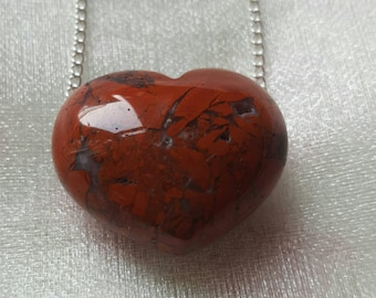 Jasper crystal necklace Loveheart heart  crystal necklace