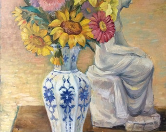 Still Life with Flowers in Cobalt Painted Vase and Marble Statue.
