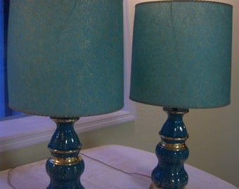 Turquoise and metallic gold lamps/1950s lamps/Turquoise & gold fiberglass shades/Retro lamps/Mid Century lamps/Hollywood Regency