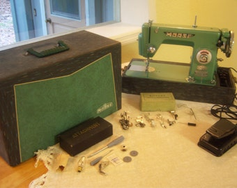 Morse sewing machine from 1950s/Vintage sewing machine/Retro green sewing machine/Photo prop/Movie or tv prop
