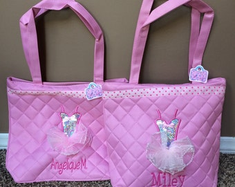 Personalized pink tutu dance bag quilted Dance/Ballet Bag with name free monogram tote