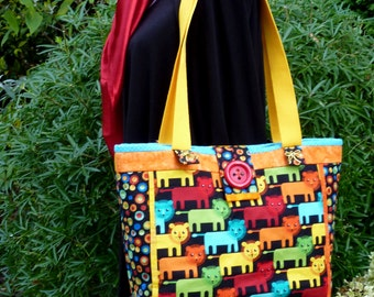 Quilted bag with lions, canvas tote bag , quilted tote bag ladies, Lion's tote bag, colorful bag, sewed canvas bag, colorful lion's bag.