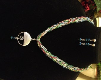 Multicolor Braided Chain Necklace with Wire Wrapped Pendant