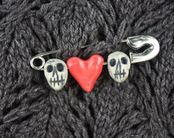 Lots of Love- Skull and Heart Safety Pin Brooch