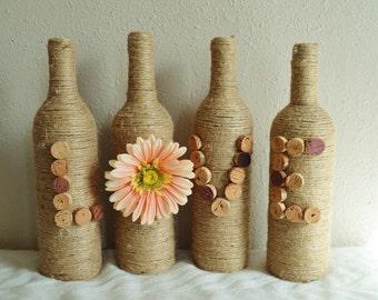 LOVE Wrapped Wine Bottle Decor