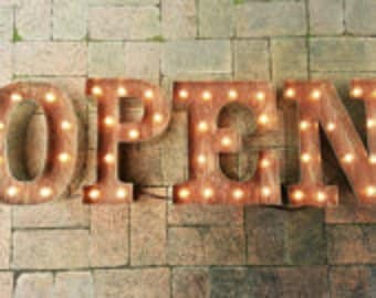 OPEN SIGN- 4 Custom Business Marquee light up letters, Rustic Industrial Marque lighting w/ Metal, Wood & Light Bulb Letters Sign Wall Light