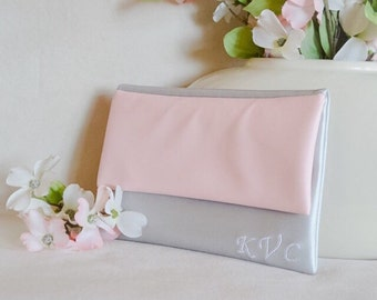 Silver monogrammed clutch - personalized leather purse - rose bridesmaid clutch - handbag - color block fold over clutch - rose bridal purse