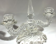 Fostoria Colony, Candlestick, Candle Holder, Double Candlestick, Glass, Collectible, Tableware, Dining Table