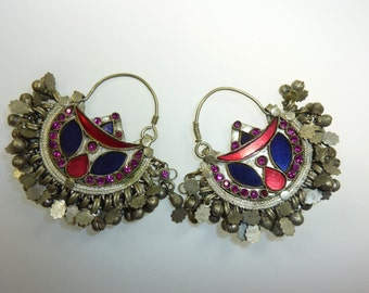 Tribal Kuchi Earrings, vintage, with Blue, Pink and Red Glasstones