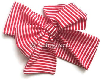 Baby Girl Head Wrap, Red ans White Stripes Headwrap, Fabric head wraps, Newborn headband,  Toddler Headband, Baby Head Wrap