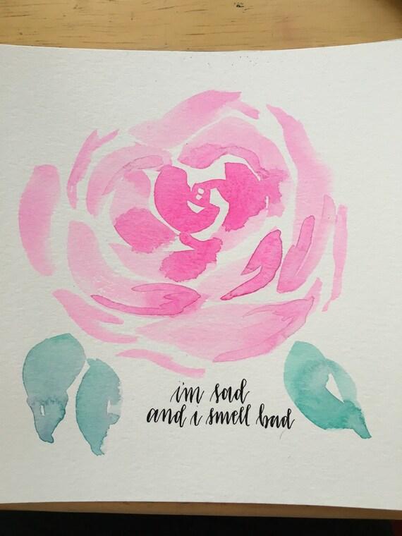 Sad rose calligraphy wall art by oldbonesneedlework on etsy