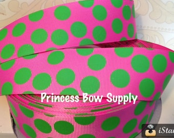 "1.5""  hot pink lime green polka dot jumbo dot minnie Mouse grosgrain ribbon BTY for bow sew birthday party supply summer lime Tinkerbell"