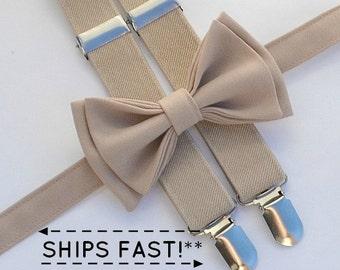 Beige / Tan Suspenders -- Beige / Tan Bow Tie -- Suspenders Bow Tie -- Ring Bearer Outfit - Christening Outfit