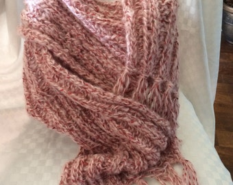 Hand Knit Scarf Pink