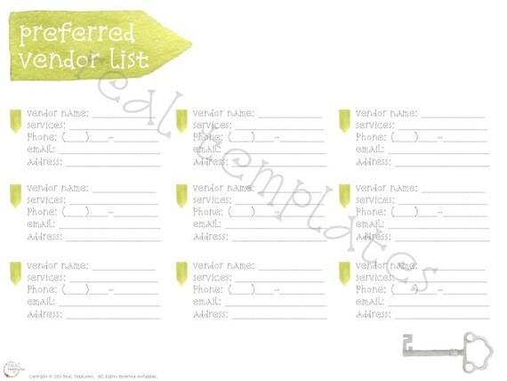Items similar to Preferred Vendor List Template on Etsy – Vendor List Template