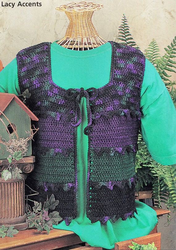 Items similar to Crochet Lace Accents Vest Pattern, Vest ...