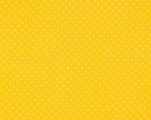 YELLOW polka dot fabric,cotton fabric,dotted fabric,bright yellow mini dots fabric,extra wide fabric,fabric by half yard,by yard,euro fabric