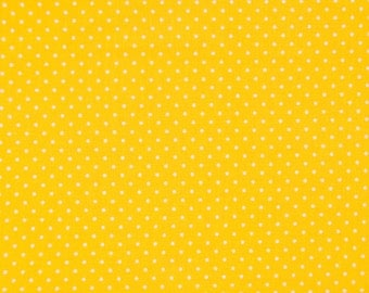 YELLOW polka dot fabric,cotton fabric,dotted fabric,bright yellow mini dots fabric,extra wide fabric,fabric by half yard,by yard,euro fabric
