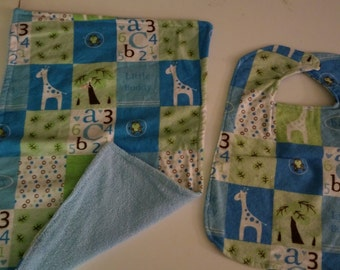 Baby Boy Reversible Bib and Burp Cloth Set