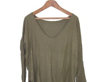 Oversized deep v neck waffle long sleeve top in olive green - size small medium large