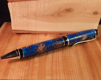 SALE***Sapphire Blue Acrylic Pine Cone Cigar Ballpoint Pen