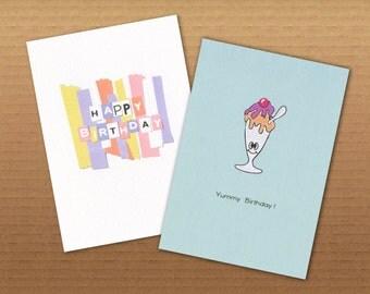 Colourful Illustrated Birthday Cards- Happy Birthday / Yummy Birthday 2 Pack