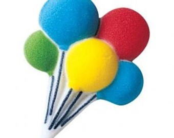 12 Pack Balloon Cluster Edible Molded Sugar Cake and Cupcake Decorations