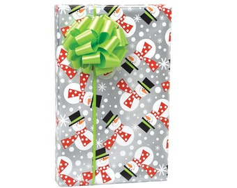 Metallic Snowmen Christmas Script Gift Wrap Paper -15ft