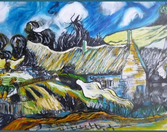 """Oil painting, """"Copy of a Van Gogh,Cottages at Cordeville Auvers"""" , signed, 40 x 50 Canvas cmts, Costa Rica, Peru, offer special elinca24"""