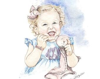 Custom Watercolor Baby Portrait