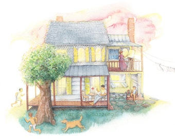 Children's Watercolor Illustration: Country Home on a Sunday Morning
