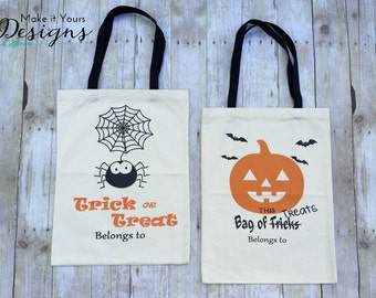 Personalized Halloween Trick or Treat Totes/Personalized Treat Bags, Jack-O-Lantern & Spider Styles