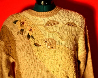vintage sweater / womens vintage sweater/ applique sweater/ color block sweater