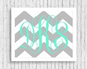custom chevron monogram printable personalized initials nursery wall art decor baby shower gift