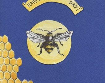 Happy Bee Day birthday card, hand drawn design.