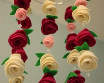 Felt Flower Hanging Crib Rose Mobile Baby Pink, Raspberry, and Ivory, Nursery Decor, Floral Ceiling Mobile, Wedding Decor, Baby