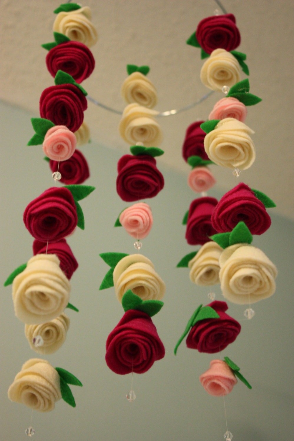 felt flower hanging crib rose mobile baby pink raspberry and - 🔎zoom