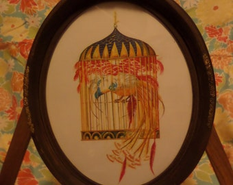 Framed illustration of phoenix in cage
