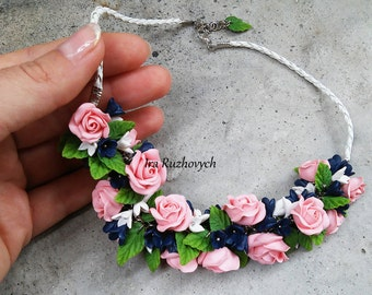 Rose Flower necklace, Hand made Flowers, Polymer Clay Jewelry