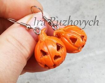 Pumpkin earrings, Halloween earrings, Empty inside