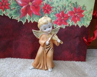 vintage Homco porcelain Angel Playing Violin figurine marked 5400 6 inch